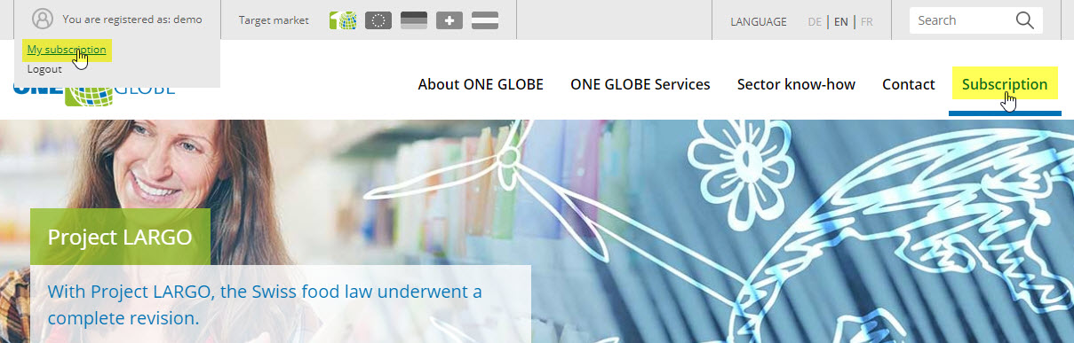 ONE GLOBE use the subscription